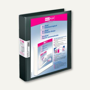 Präsentationsringbücher VELODUR, DIN A4, 2 D-Ringe Ø 30 mm, schwarz, 10 Stück, 4
