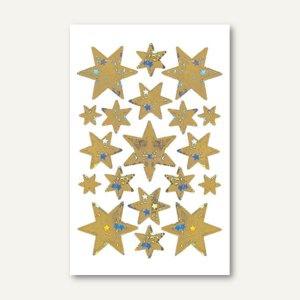 Sticker DECOR Sterne, 6-zackig, 5 Größen, Holografie, gold, 10 x 1 Blatt, 3902