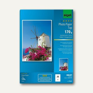 "Sigel Fotopapier "" Top"", DIN A4, 170 g/m², glossy, 50 Blatt, IP601"