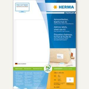 Herma Adressetiketten PREMIUM - 148.5 x 205 mm, weiß, 400 Stück, 8690