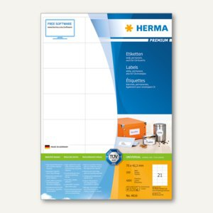 Herma Etiketten PREMIUM A4, 70 x 42.3 mm, matt weiß, 4.200 St. / 200 Blatt, 4616