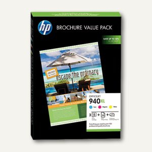 HP Broschure Value Pack Nr. 940XL - 3 Patronen CMY + 100 Blatt Papier, CG898AE