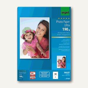 """Sigel Fotopapier """" Ultra"""", DIN A4, hochglänzend, 180g/m², 50 Blatt, IP639"""