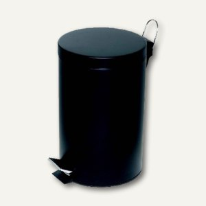 officio Tretabfalleimer, 12 Liter, Stahlblech, schwarz, 2961-11
