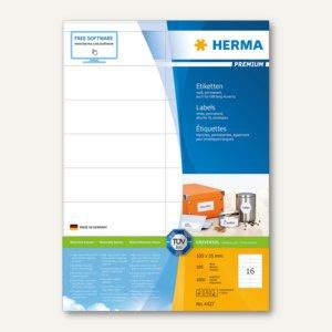 Herma Etiketten PREMIUM A4, 105 x 35 mm, matt weiß, 1.600 St. / 100 Blatt, 4427