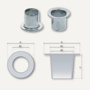 Ösen Nr. 8E 4lang, Innen Ø 5.5 mm, L 4 mm, 2-20 Blatt, vernickelt, 10.000 St.