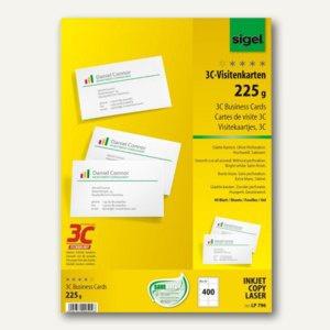 Sigel PC-Visitenkarten 3C, 85 x 55 mm, 225 g/m², hochweiß, 400 Stück, LP796