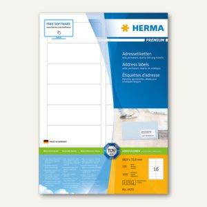 Etiketten PREMIUM A4, 88.9 x 33.8 mm, matt weiß, 1.600 St. / 100 Blatt, 4479