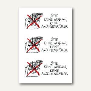 """Hinweisetiketten, """" Keine Werbung Anzeigenbl."""", wetterf., 10x 3 Etiketten, 5742"""
