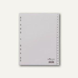 Register DIN A4, geprägte Taben, 1-20, PP, 20-teilig, grau, 20 Stück, 6522-10