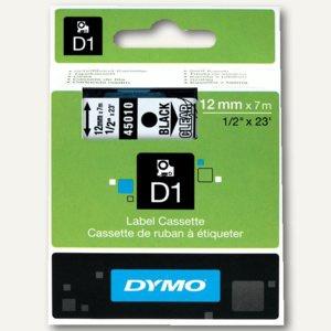 Dymo D1 Etikettenband, 12 mm x 7 m, schwarz auf transparent, S0720500