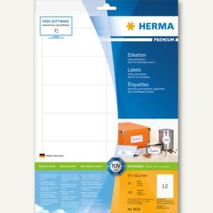 """Herma Universal-Etiketten """" PREMIUM"""", 97 x 42.3 mm, Rand, weiß, 600 Stück, 8628"""