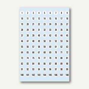 Herma Zahlen, 8mm, 1-540, Papier weiß, schwarz, 50 Blätter, 4128