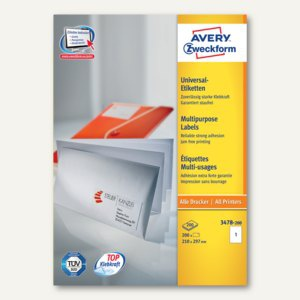 Avery Zweckform Universal-Etiketten, 210 x 297 mm, weiß, 220 Stück, 3478-200