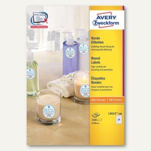Avery Zweckform Universal-Etiketten, Ø 40 mm, weiß, 2.400 Stück, L3415-100