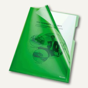 Bene Aktenhüllen 150my DIN A4, oben u. rechts offen, grün, 100 Stück, 205000 GN