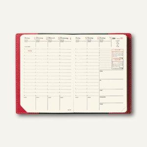 Geschäftbus Prestige Montebello Terminkalender, 10x15 cm, Leder glatt, Dali-Rot