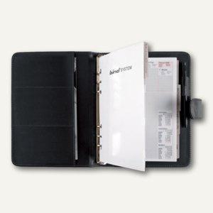 Systemplaner DIN A5, Lederimitat, 1 Woche/2 Seiten, Druckknopf, schwarz, 15501