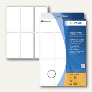 Herma Vielzweck-Etiketten, 34 x 67 mm, weiß, 5 x 192 Stück, 2480