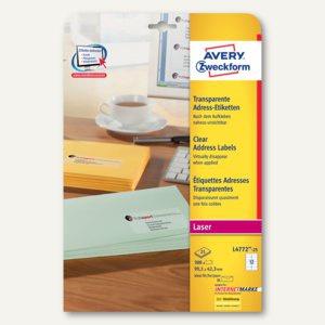 Adress-Etiketten f. DIN lang, 99.1 x 42.3 mm, Folie, transparent, 300 St.