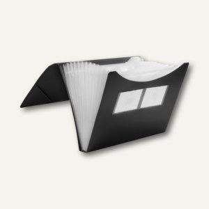 FolderSys Fächermappe A4, PP, 12 Taschen, schwarz, 10 Stück, 70009-30