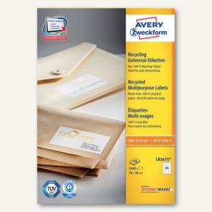Avery Zweckform Recycling Universal-Etiketten, 70 x 36 mm, 2.400 Stück, LR3475