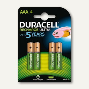 Duracell Akkus PreCharged AAA, Micro, 800 mAh, 4 Stück, 203822
