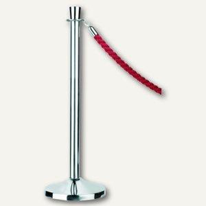 Seilständer f. Personen-/Wegeleitsystem, Chrom mit roter Kordel, (H)95 cm, 8050