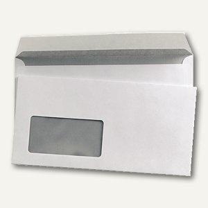 Briefumschlag DL, 110 x 220 mm, haftkleb., Fenster/links, 80 g/m² weiß, 1.000 St