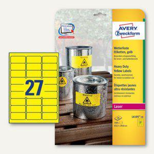 Zweckform Etiketten, wetterfest, 63.5 x 29.6 mm, gelb, 540 Stück, L6105-20 - Vorschau