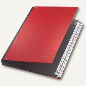 LEITZ Pultordner DIN A4, Fächer 1-31, Pappe / PP überzogen, rot, 5931-00-25