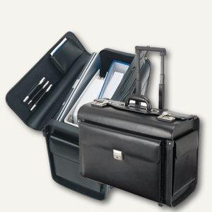 Pilotenkoffer SILVANA, Laptopfach, Leder, 48, 5 x 37 x 23 cm, schwarz, 92705
