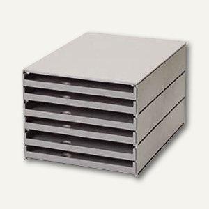 Styro val Schubladenbox, 6 offene Schübe, grau, 23105-85