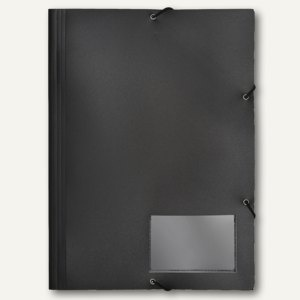 FolderSys Eckspannsammelmappe für DIN A4, PP, schwarz, VE 30 Stück, 10006-30