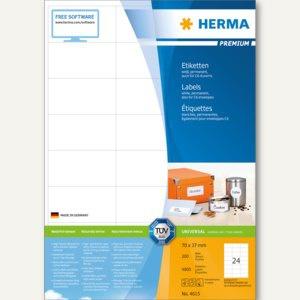 """Herma Etiketten """" Premium"""", 70 x 37 mm, weiß/matt, 4.800 Stück, 4615"""