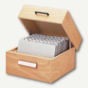 HAN Karteikasten aus Holz , DIN A5 quer, für 1.500 Karten, 1005