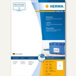 Herma Inkjet-Etiketten A4 - 210 x 297 mm, permanent, weiß, 100 Stück, 4819