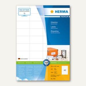 Etiketten PREMIUM A4, 52.5 x 29.7 mm, matt weiß, 4.000 St. / 100 Blatt, 4461