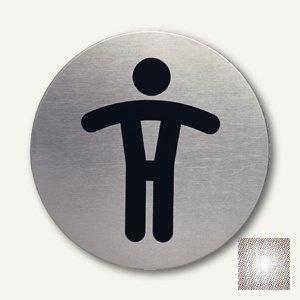 "Durable Edelstahl-Piktogramm "" WC-Herren"", Ø 83 mm, 2 Stück, 4905-23"