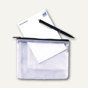 Rexel Mesh Bag Reißverschlusstasche DIN A5, farblos/schwarz, 10 Stück, 1300257 - Vorschau