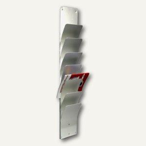 officio Wandzeitungshalter mit 7 Fächern, 1000 x 200 x 90 mm, Aluminium eloxiert