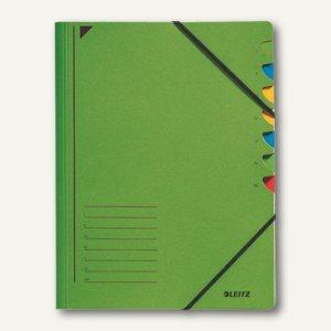 LEITZ Ordnungsmappe DIN A4, Gummiband, Fächer 1-7, grün, 3907-00-55