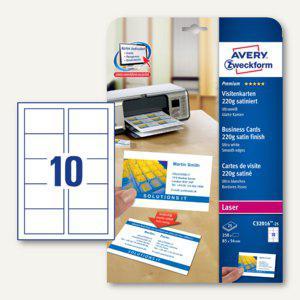Visitenkarten PREMIUM, 85 x 54 mm, 220g/m², satiniert, beidseitig, Laser, 250 St - Vorschau