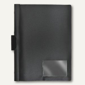FolderSys Klemm-Mappe A4, PP, bis 40 Bl., vollfarbig schwarz, 50 Stück, 13004-30