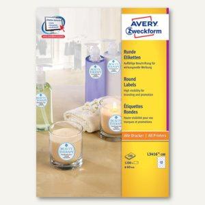 Avery Zweckform Universal-Etiketten, Ø 60 mm, weiß, 1.200 Stück, L3416-100