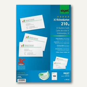 Sigel Visitenkarten 3C, Leinenstruktur, 210g/m², hochweiß, 100 Stück, IP532