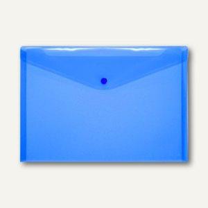 Dokumententaschen DIN A4 quer, Druckknopf, PP, blau-transparent, 100 St.