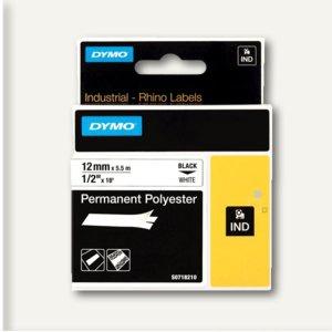 Dymo Rhino Etikettenband, 12 mm x 5.5 m, Polyester, schwarz/weiß, 18483