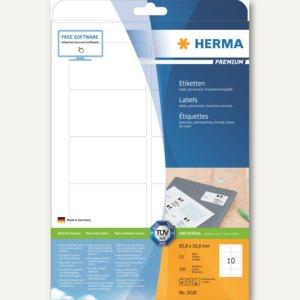 Herma Etiketten Premium, 83.8 x 50.8 mm, Papier matt, weiß, 250 Stück, 5028