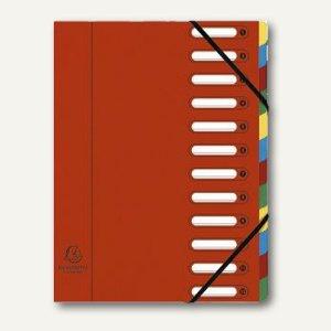 Exacompta Ordnungsmappe DIN A4, 12-teilig, rot, 55125E